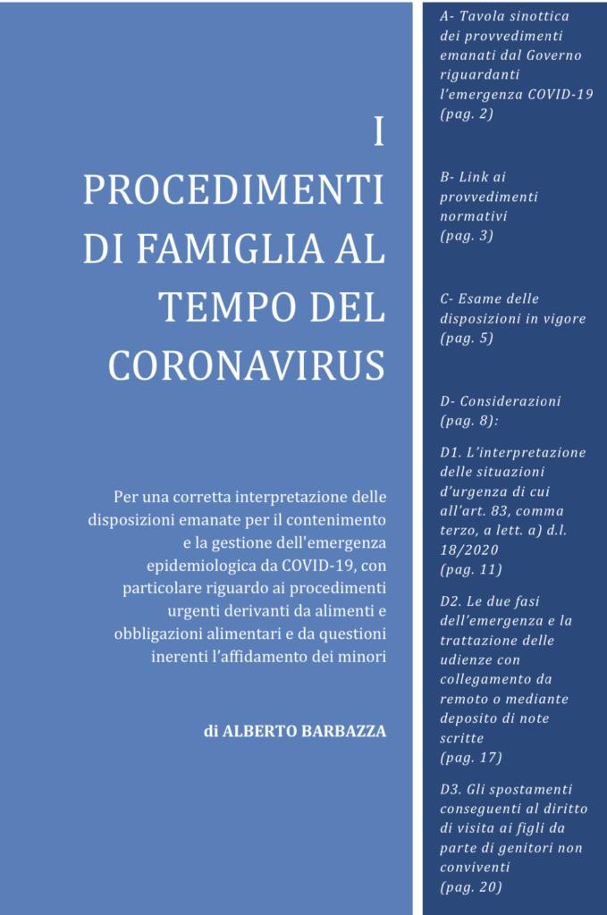 I procedimenti di famiglia al tempo del Coronavirus - Articolo del dottor Alberto Barbazza